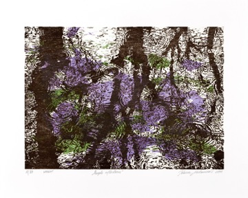 Jelena Sredanovic, Purple Reflectios, 2018, Holzschnitt, women II